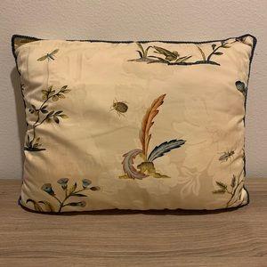 Scalamandre Cream Floral Fabric Throw Pillow